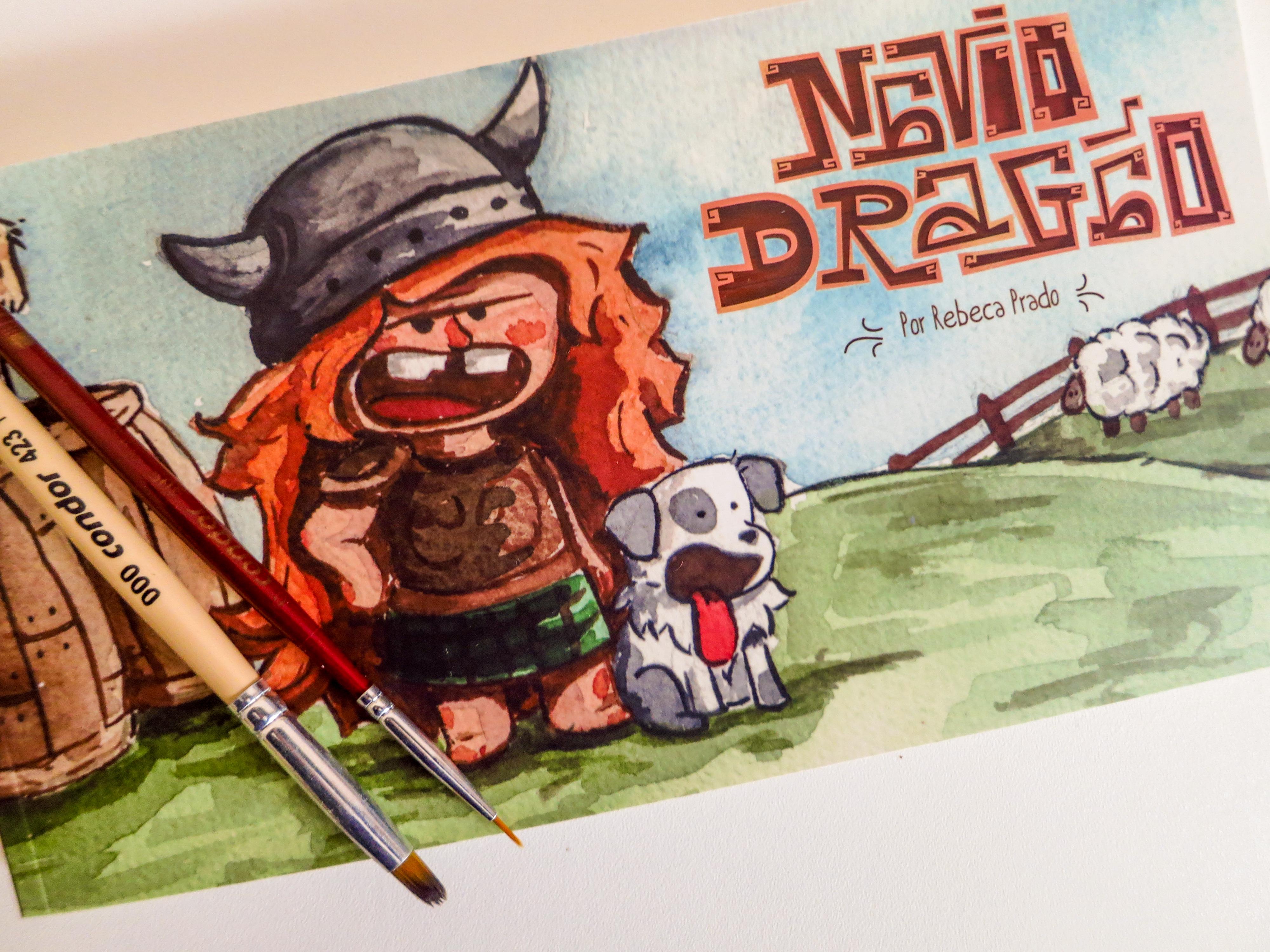 """[QUADRINHOS] """"Navio Dragão"""", a mal humorada viking Lif e seu sanguinário cão Carne, de Rebeca Prado"""