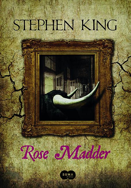 capa completa do livro Rose Madder, de Stephen King, mostrando um quadro emoldurado no qual um bovino está diante de várias portas.