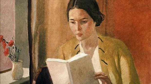 Young girl reading, por Alexander Deineka