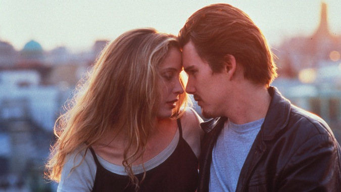 Ethan Hawke e Julie Delpy em Antes do Amanhecer