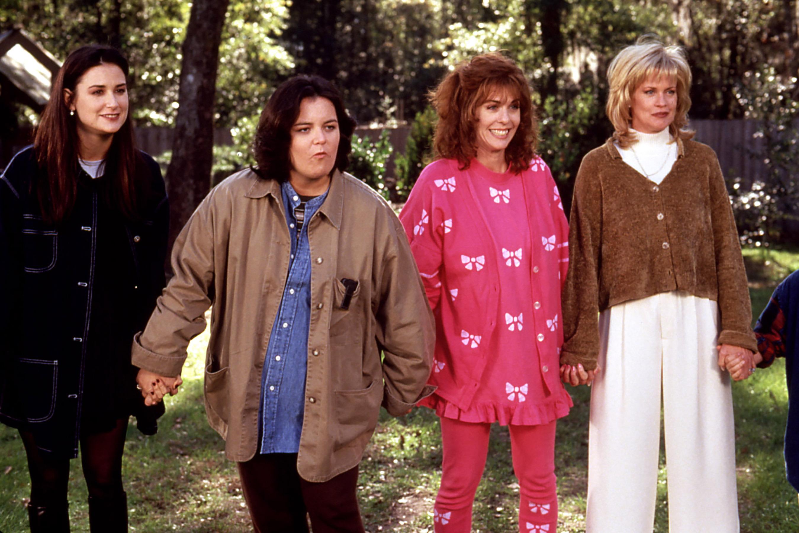 "Elenco adulto de ""Now and Then"": Samantha (Demi Moore), Roberta (Rosie O'Donnell), Chrissy (Rita Wilson) e Teeny (Melanie Griffith)"