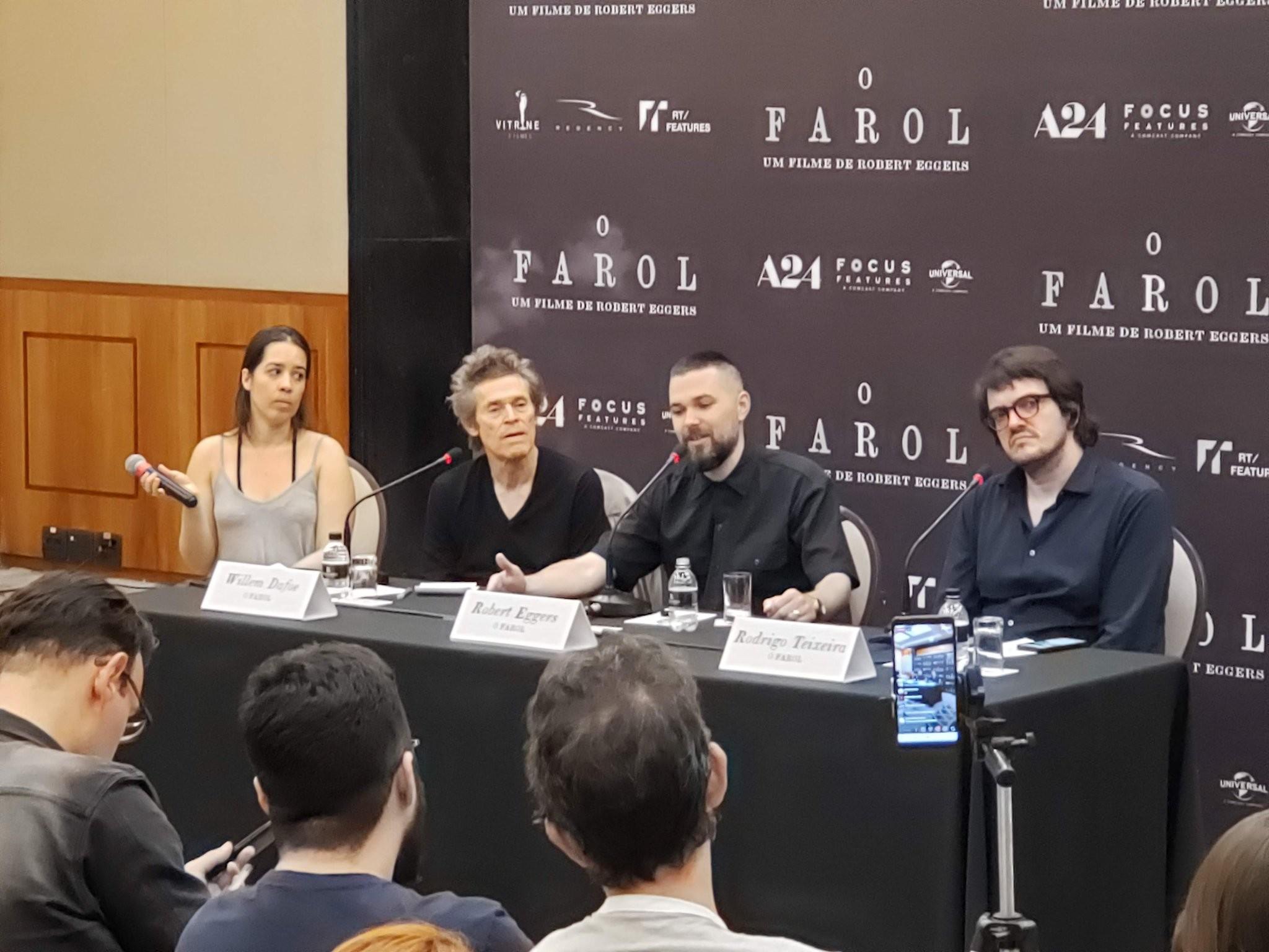 """coletiva de imprensa de """"O Farol"""", com Robert Eggers, Willem Dafoe e Rodrigo Teixeira"""
