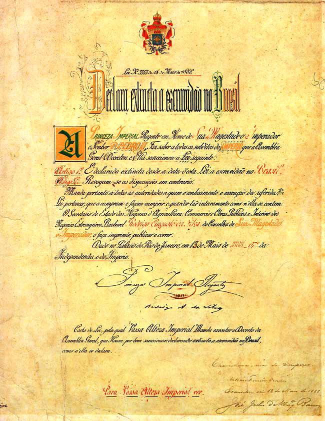Lei Áurea, assinada por Isabel.