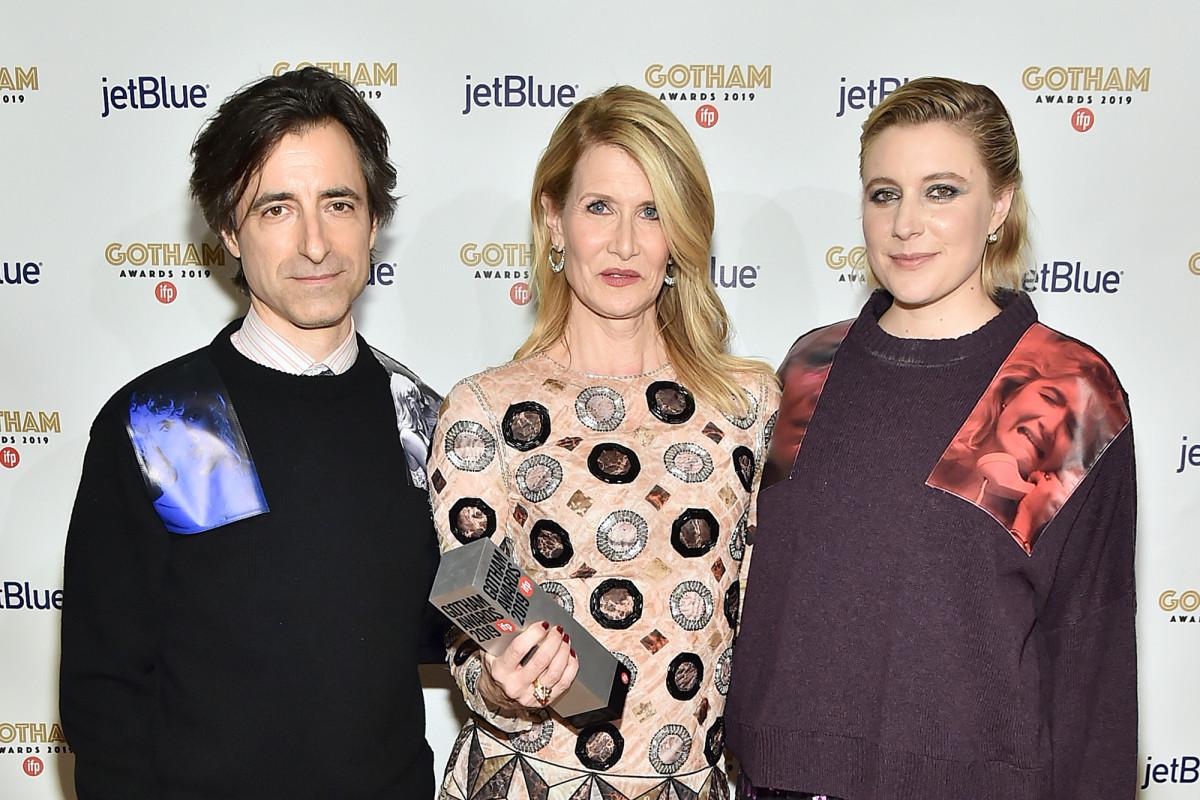 Noah Baumbach, Laura Dern e Greta Gerwig no tapete vermelho do Gotham Awards