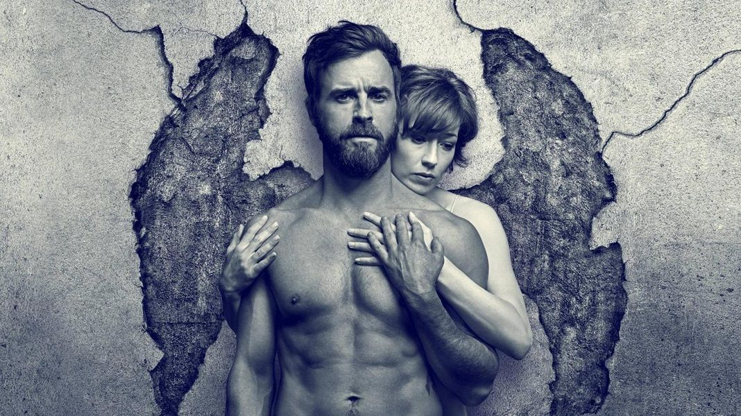 "Justin Theroux e Carrie Coon como os protagonistas de ""The Leftovers""."