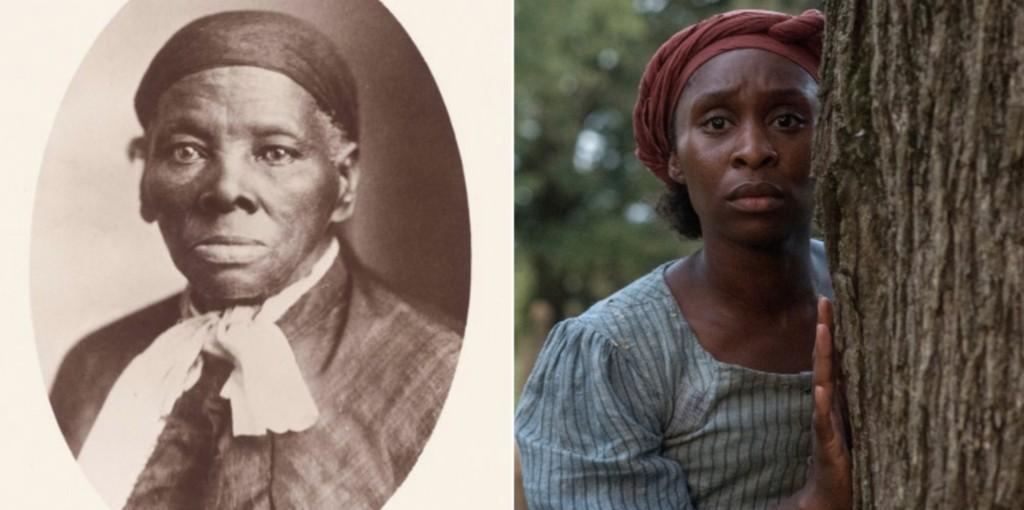 Harriet Tubman (esquerda) e a atriz Cynthia Erivo.