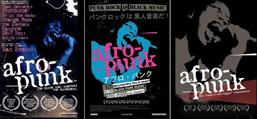 """Pôsteres do documentário """"Afro-punk""""."""