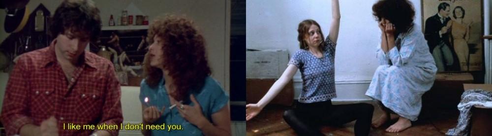 """Cenas de """"Girlfriends"""". À esquerda, Eric e Susan discutem. À direita, a recém-chegada Ceil incentiva Susan a """"se conectar com o próprio corpo""""."""