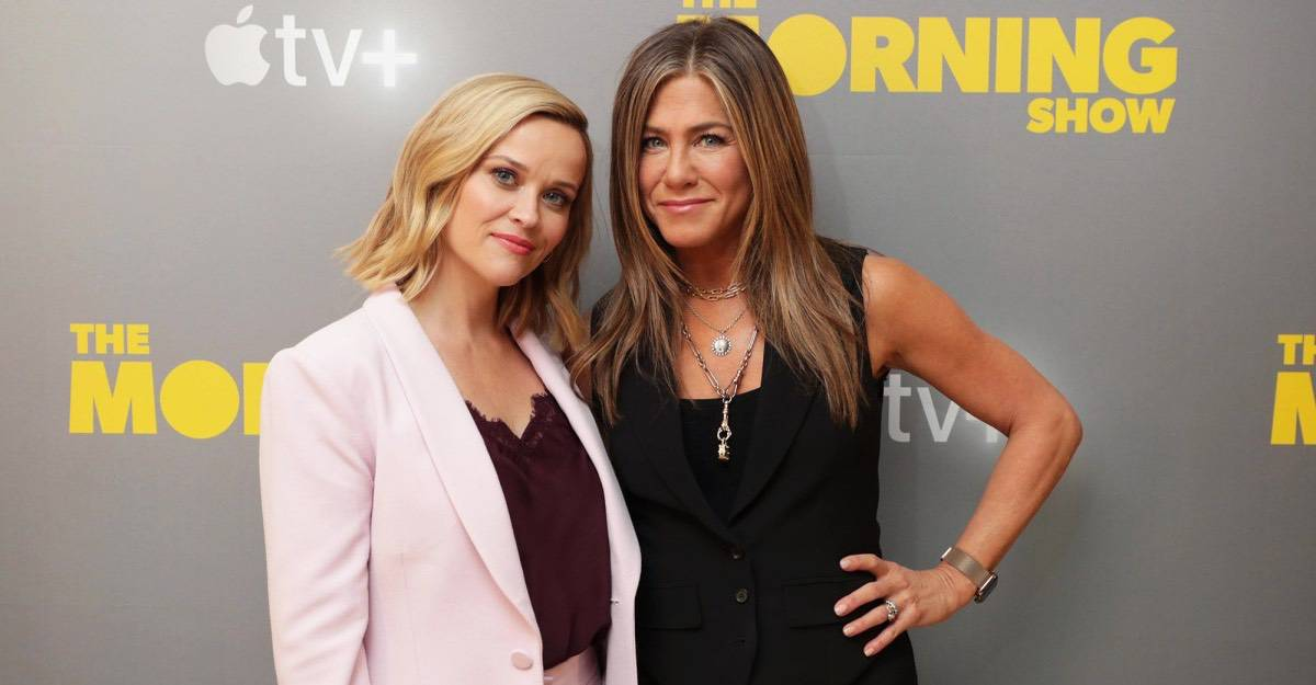 As amigas e produtoras executivas da série, Reese Whiterspoon e Jennifer Aniston.