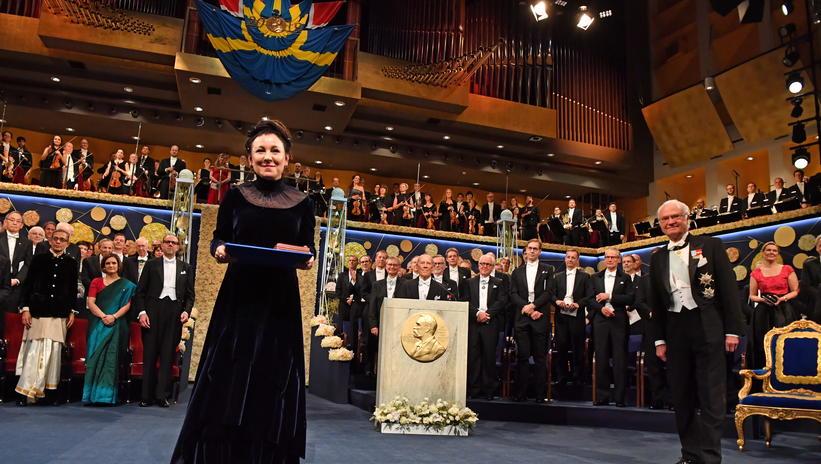Olga Tokarczuk na cerimônia de entrega do Prêmio Nobel de Literatura de 2018