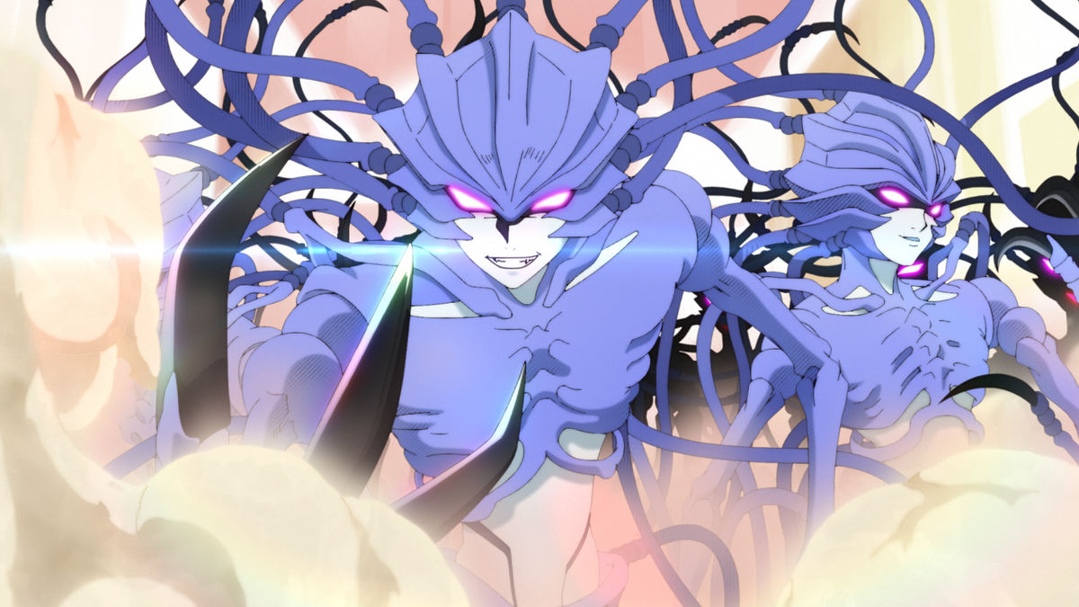 Entre fumaça, existem dois personagens com fisionomias semelhantes, tendo olhos luminosos.