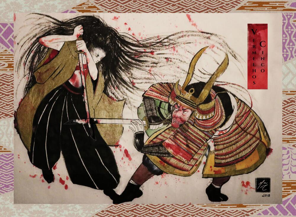 """Arte do quadrinho """"Cinco Vermelhos"""". Imagem: Talessak"""