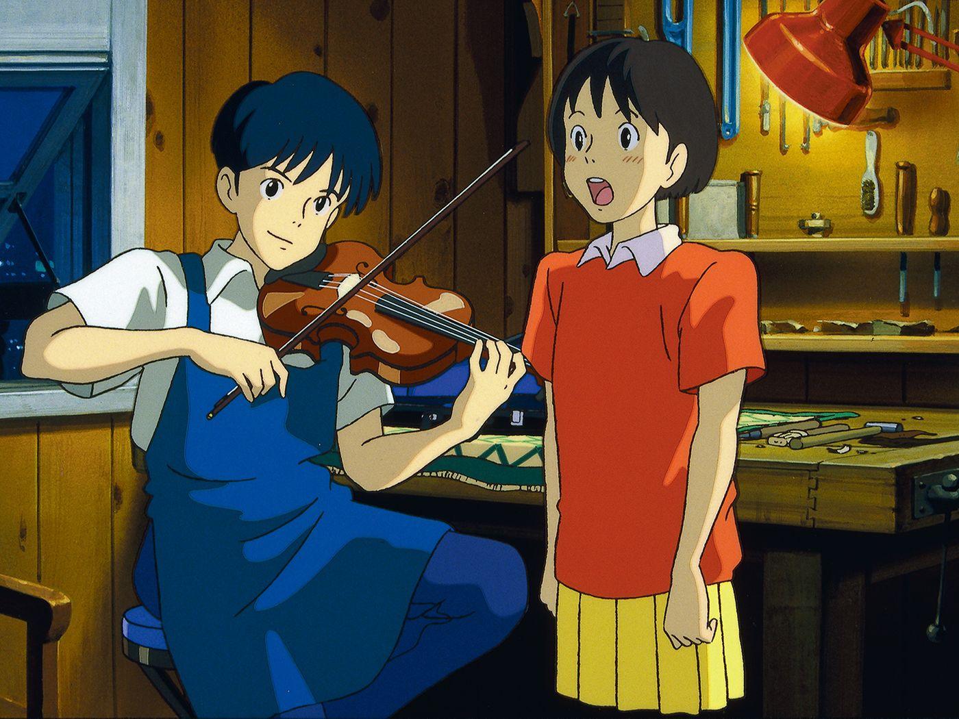 "Shizuku Tsukishima (Yōko Honna) e Seiji Amasawa (Issey Takahashi) em ""Sussurros do Coração"""