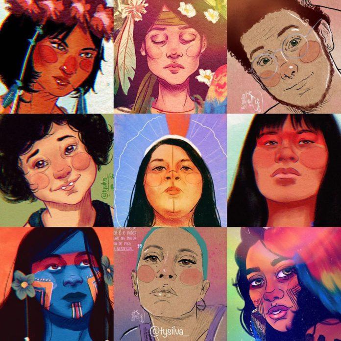 Os traços da quadrinista Ty Silva em rostos diversos.