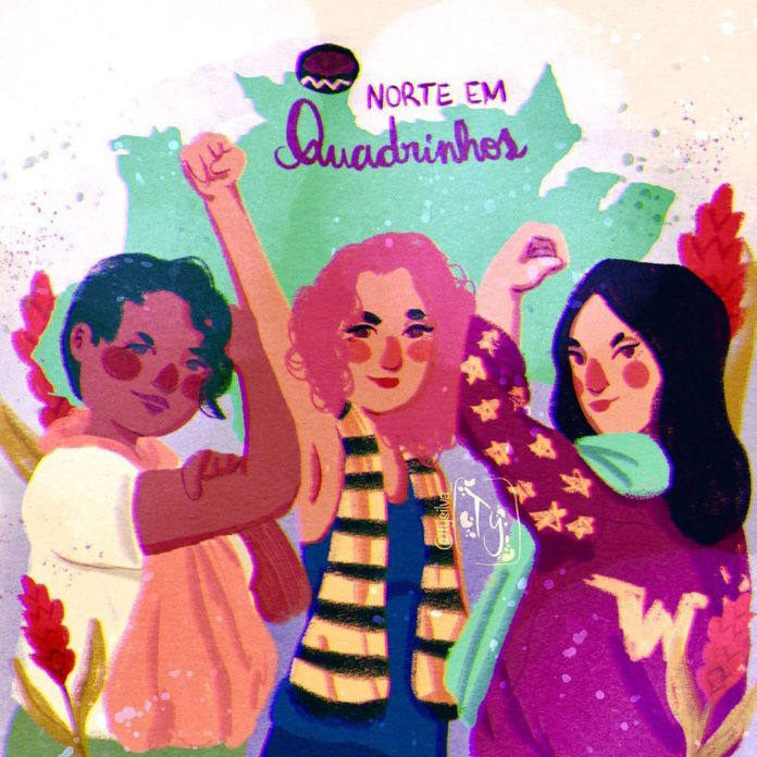 Ilustra de Ty Silva ao lado da artista Mandy Barros e da editora Sâmela Hidalgo
