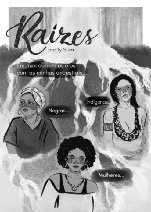 """Ancestralidade em forma de quadrinhos: """"Raízes"""" do livro """"Mulheres & Quadrinhos"""" (Skript) é um dos trabalhos mais queridos por Ty Silva."""