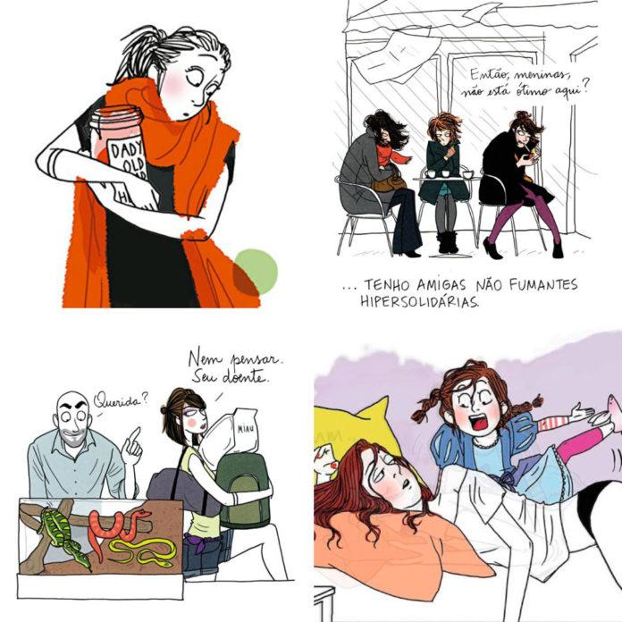 Margaux Motin transmite com humor e pitadas de ironia sua jornada diária registrada em quadrinhos.