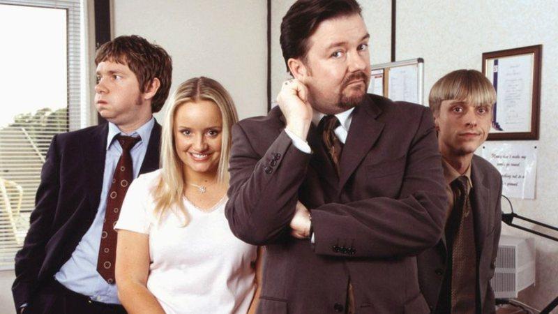 O elenco de The Office original, estrelado por Ricky Gervais.