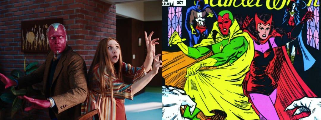 """Visão e Wanda Maximoff em WandaVision (2021) e suas contrapartes dos quadrinhos na capa de """"The Vision and the Scarlet Witch"""" #1 (1985)"""