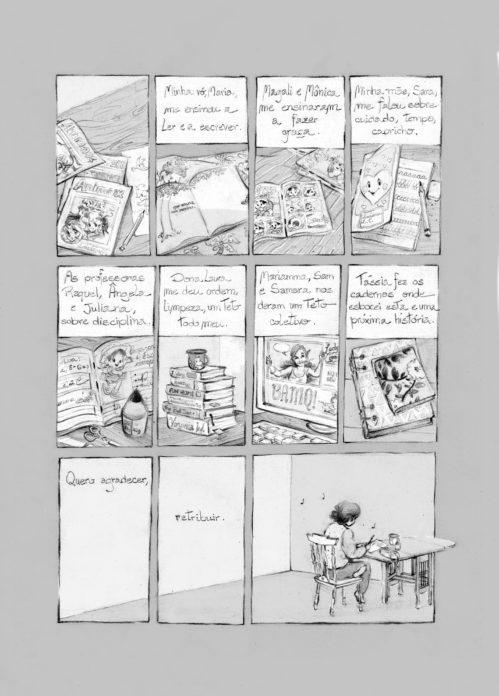 Quadrinho de Lu Cafaggi publicado no livro Mulheres & Quadrinhos.