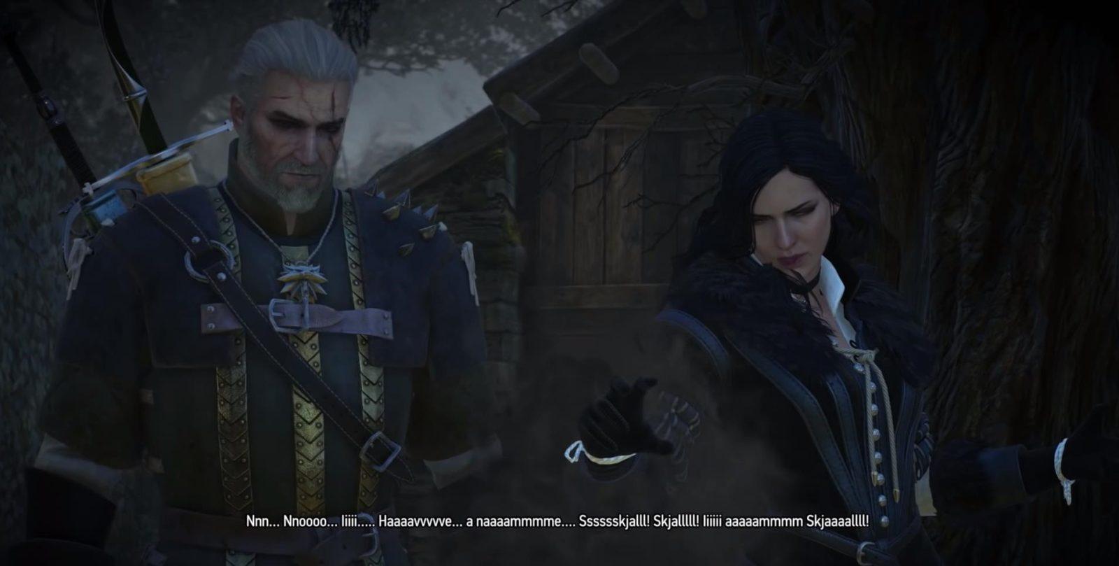 Geralt e Yennefer no jogo The Witcher