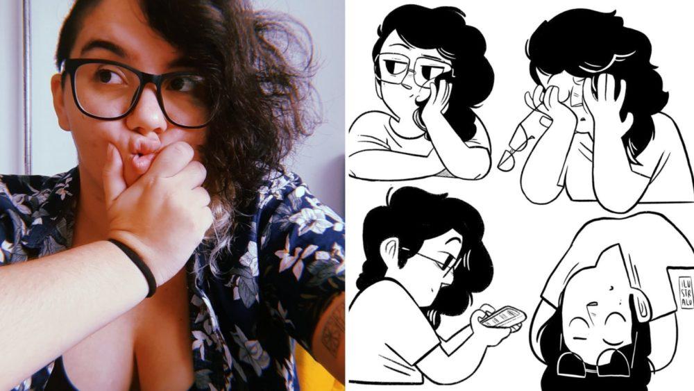 Luiza de Souza (Ilustralu)) e seus autorretratos